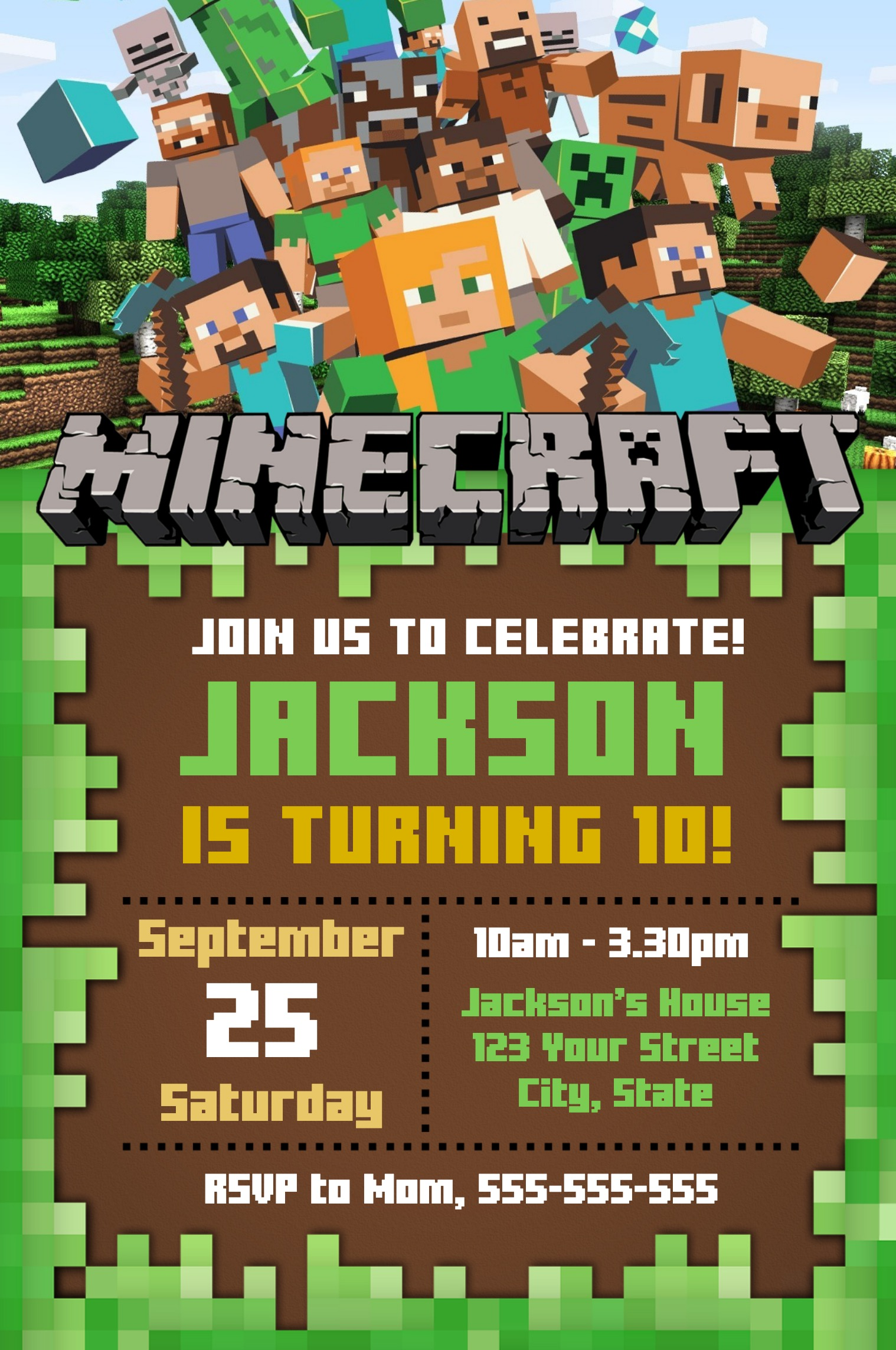 editable minecraft invitation